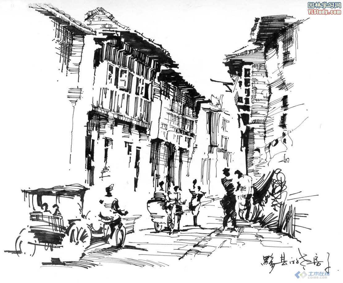 几张古建筑手绘图