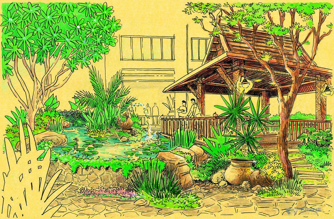 景观水景手绘设计图展示