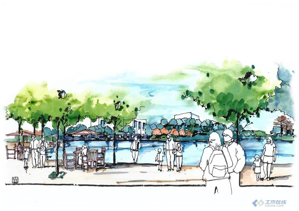3滨水景观手绘图,长沙香堤雅境小区设计图