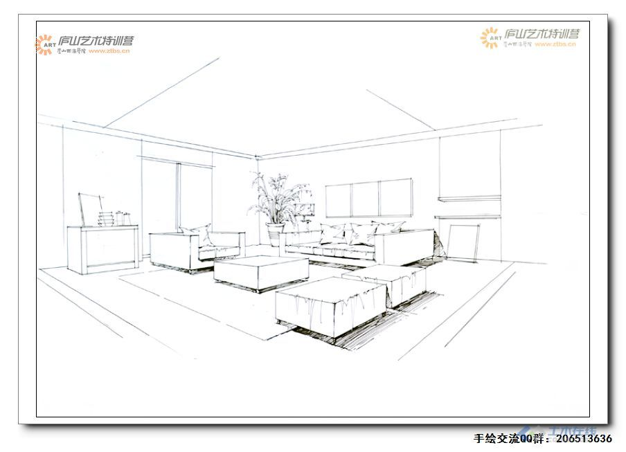 室内工程图手绘