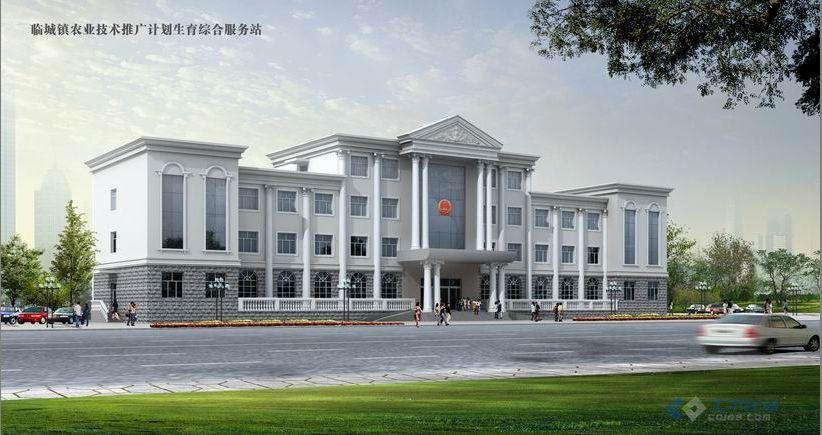 四层办公楼全套施带工图效果图