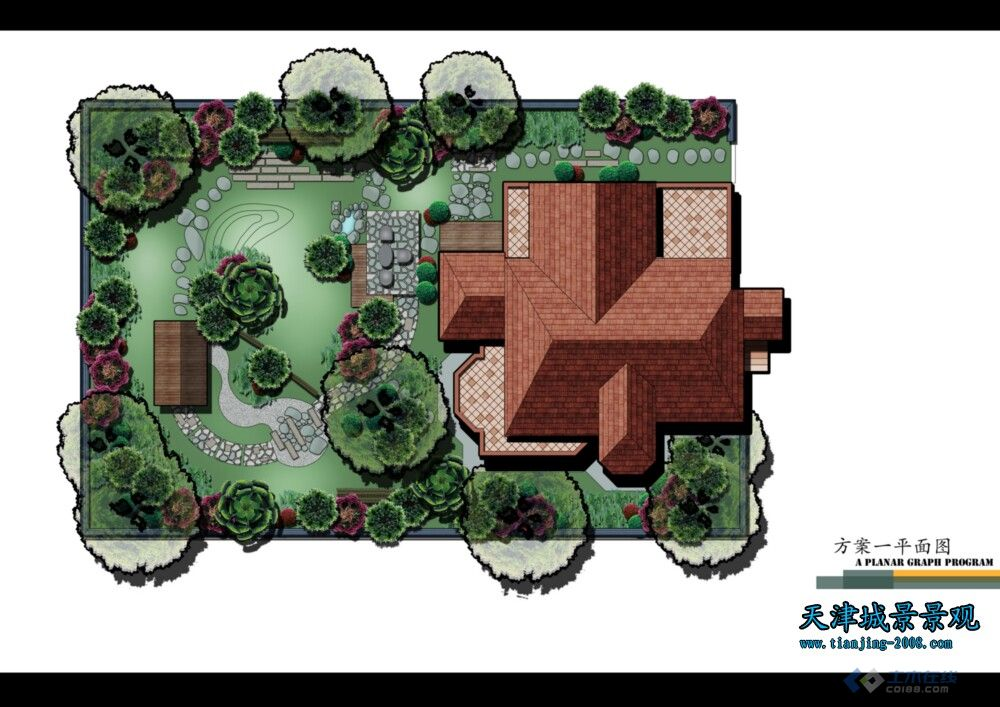 六套日式庭院平面图 效果图