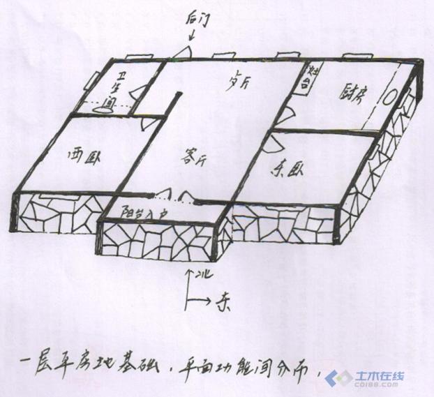 120平米四间平房设计图展示