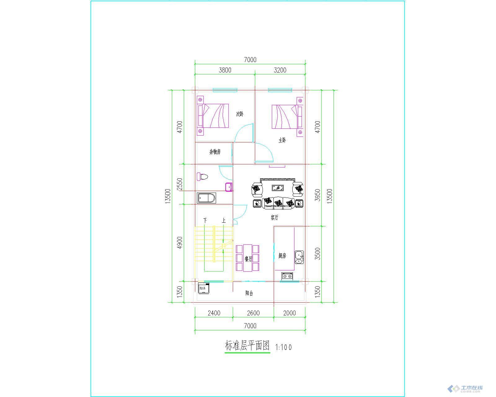 建筑设计 建筑资料 宽6.9米长12米农村建房图纸朋友们给点意见