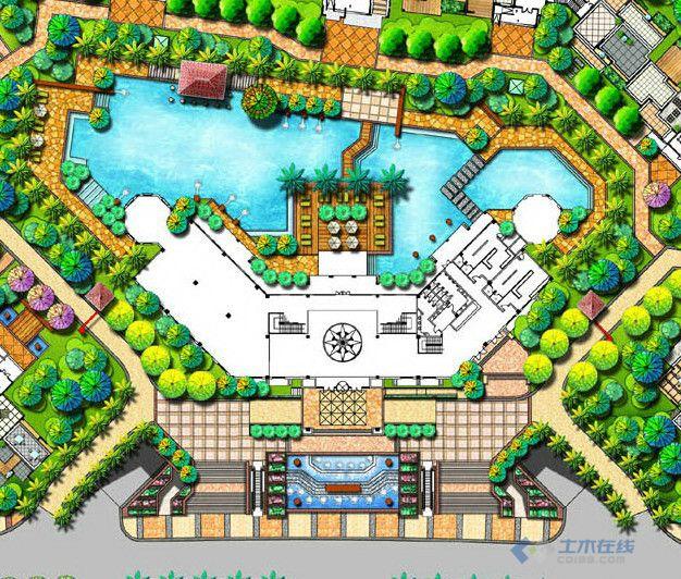 景观入口设计平面图 手绘效果图 大