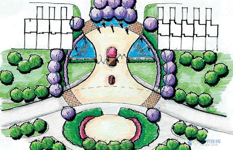 景观入口设计平面图 手绘效果图大