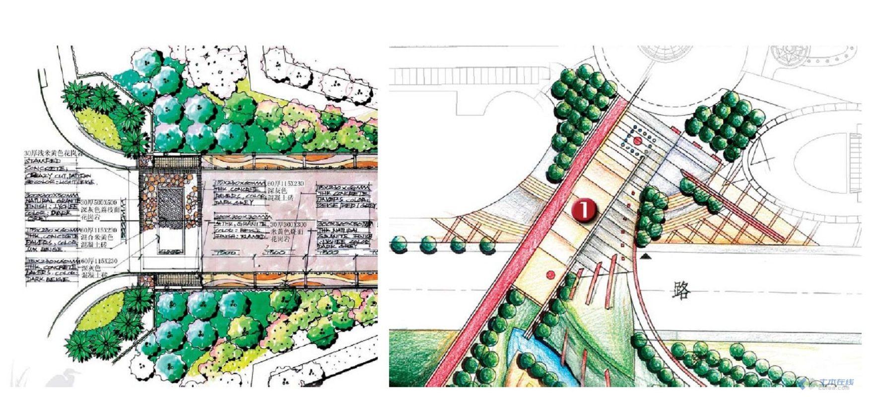 小区入口景观手绘效果图 兼职手绘景观建筑平面图效果图 分享景观