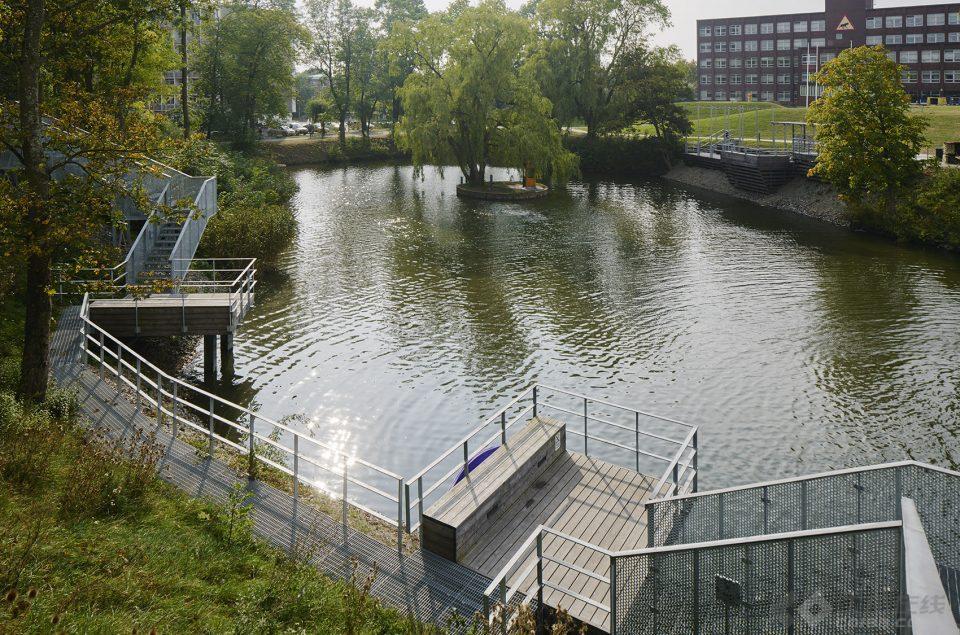 LTH校园围绕水塘打造的景观